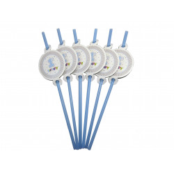 Трубочки 1st birthday блакитні 6 шт/уп