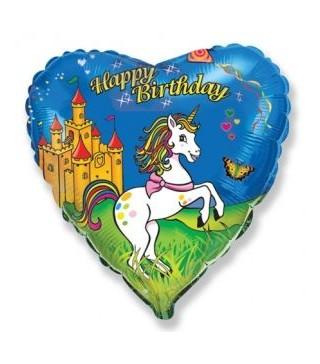 Шарик сердце Happy Birthday Единорог