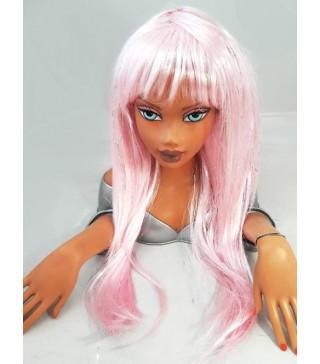 Парик с люрексом розовый