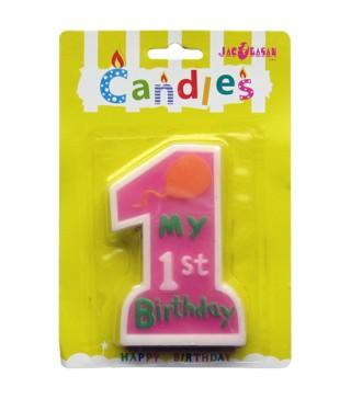 Свеча My 1st Birthday розовая