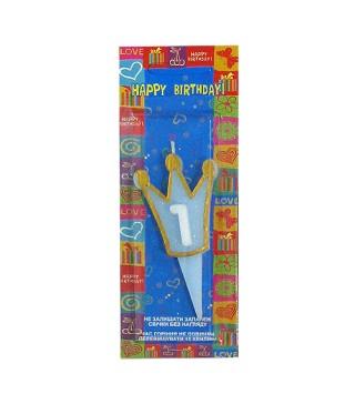Свічка Корона 1 блакитна золотий контур