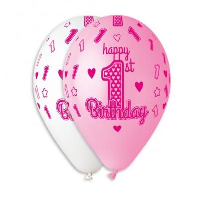 Набір кульок Happy 1st Birthday girl 5 шт/уп