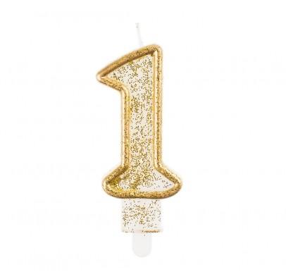 Свеча цифра 1 золотой контур с посыпкой