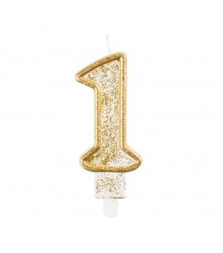 Свічка цифра 1 золотий контур з посипкою