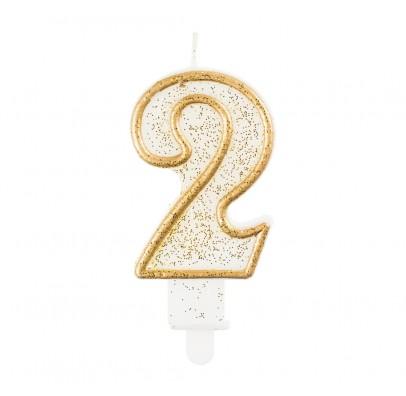 Свеча цифра 2 золотой контур с посыпкой