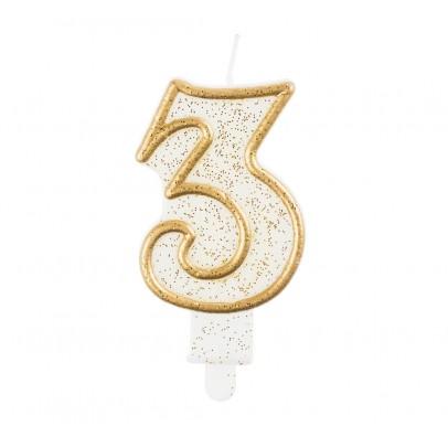 Свічка цифра 3 золотий контур з посипкою