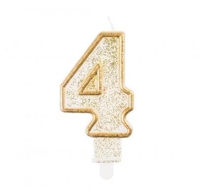 Свеча цифра 4 золотой контур с посыпкой