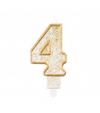 Свічка цифра 4 золотий контур з посипкою