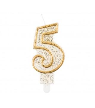 Свічка цифра 5 золотий контур з посипкою