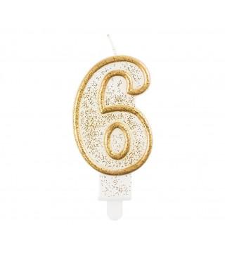 Свічка цифра 6 золотий контур з посипкою