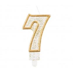 Свічка цифра 7 золотий контур з посипкою