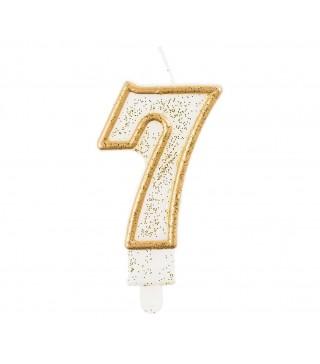 Свеча цифра 7 золотой контур с посыпкой