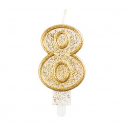 Свічка цифра 8 золотий контур з посипкою