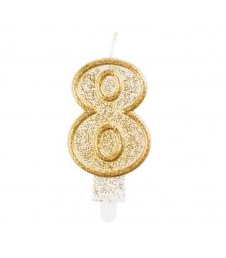 Свеча цифра 8 золотой контур с посыпкой