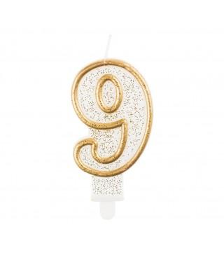 Свеча цифра 9 золотой контур с посыпкой