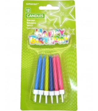 Свечи разноцветные Happy Birtchday 12шт/уп