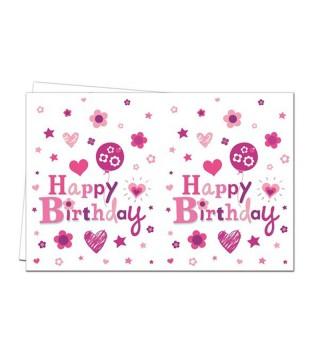 Скатертина Happy Birthday рожева