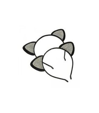 Вушка кота з камінчиками 1 шт асорті
