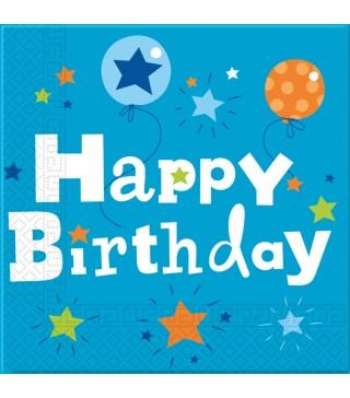 Салфетки Happy Birthday синие