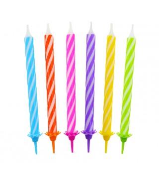 Свечи спиральные цветные 24шт/уп