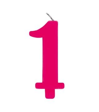 Свічка цифра 1 рожева іскриста