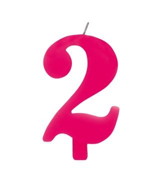 Свічка цифра 2 рожева іскриста