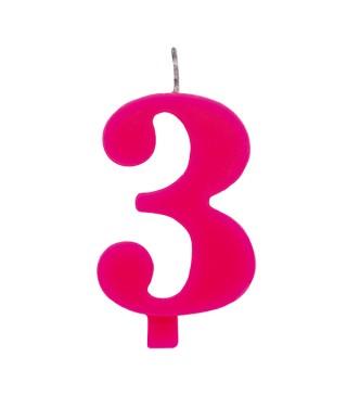 Свеча цифра 3 розовая искрящаяся