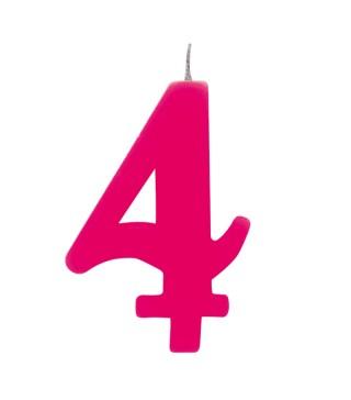 Свеча цифра 4 розовая искрящаяся