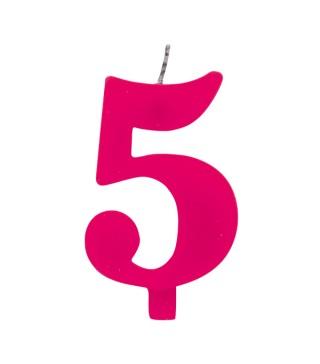 Свічка цифра 5 рожева іскриста
