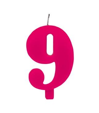 Свічка цифра 9 рожева іскриста