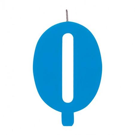 Свічка цифра 0 блакитна іскриста