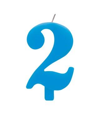 Свеча цифра 2 голубая искрящаяся