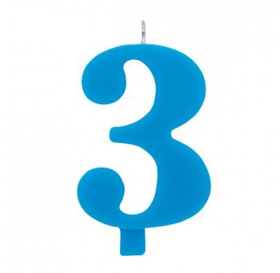 Свеча цифра 3 голубая искрящаяся
