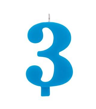 Свічка цифра 3 блакитна іскриста