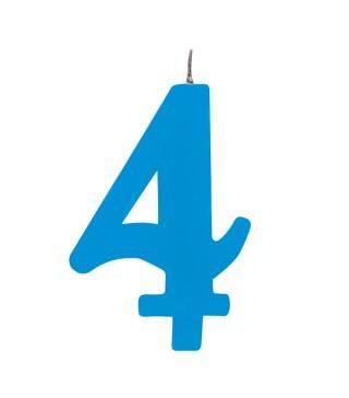 Свеча цифра 4 голубая искрящаяся