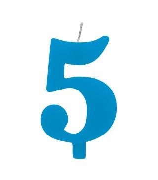 Свічка цифра 5 блакитна іскриста