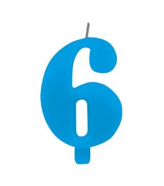 Свічка цифра 6 блакитна іскриста
