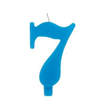 Свічка цифра 7 блакитна іскриста