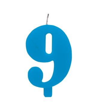 Свеча цифра 9 голубая искрящаяся
