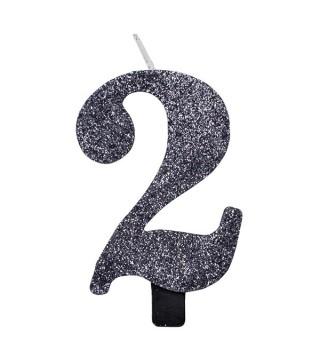 Свічка цифра 2 чорна з блискітками