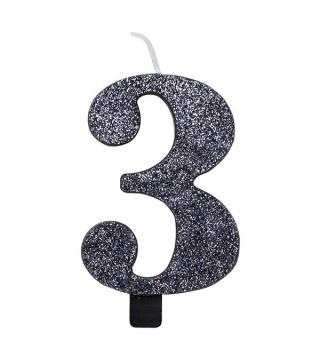 Свічка цифра 3 чорна з блискітками