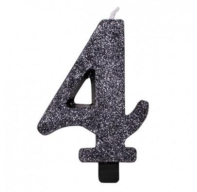Свічка цифра 4 чорна з блискітками