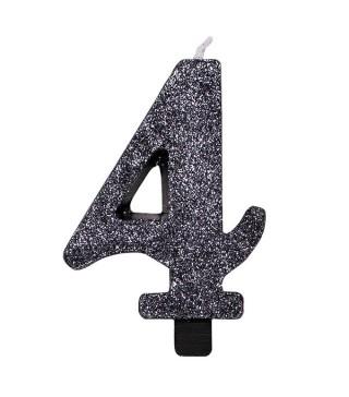 Свеча цифра 4 черная с блестками