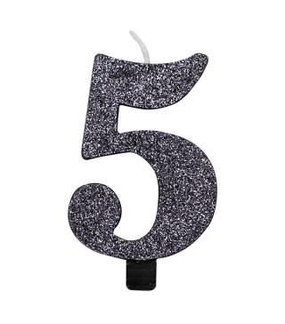 Свічка цифра 5 чорна з блискітками