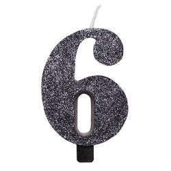 Свічка цифра 6 чорна з блискітками