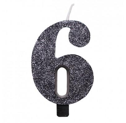 Свеча цифра 6 черная с блестками