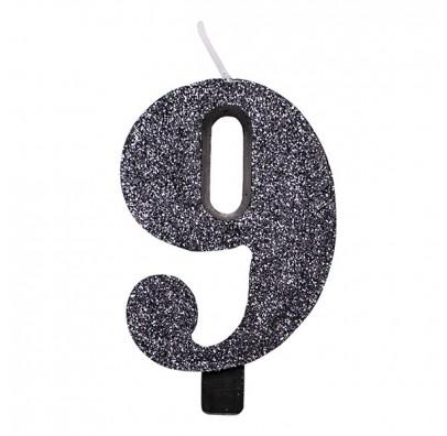 Свічка цифра 9 чорна з блискітками