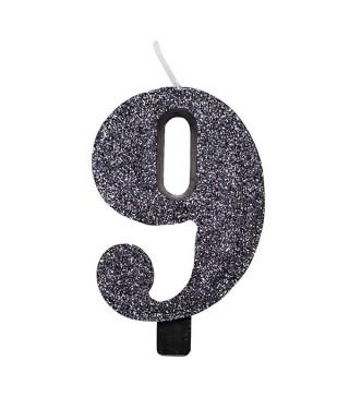 Свеча цифра 9 черная с блестками