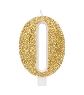 Свічка цифра 0 золоті блискітки