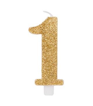 Свеча цифра 1 золотые блестки